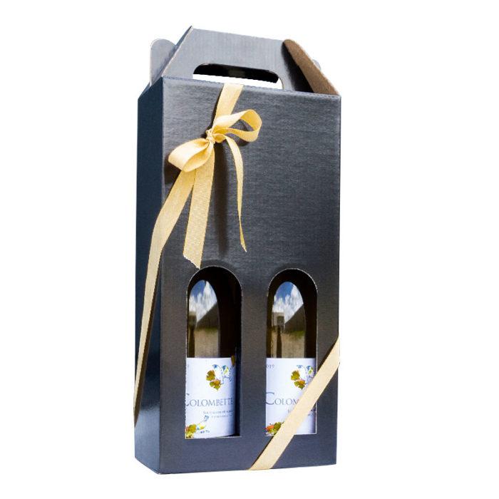Flot vinkarton i blanksort pap til 2 flasker a 75 cl. i høj kvalitet