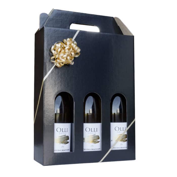 Vinæske til 3 flasker i sort