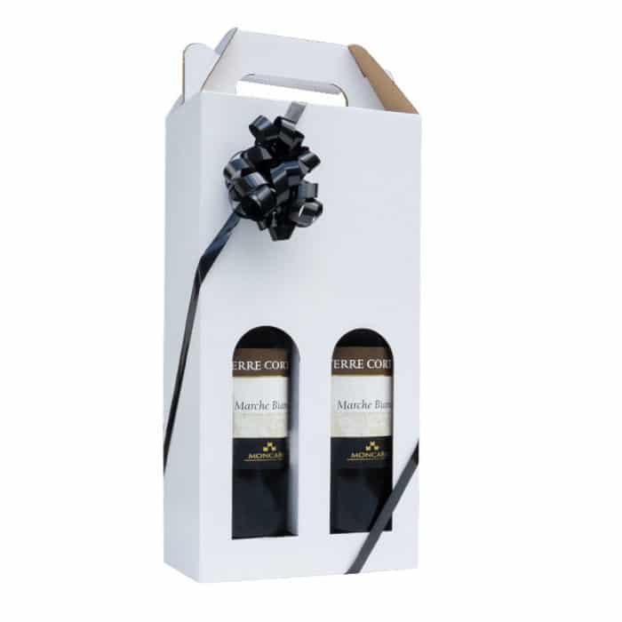 Flot vinkarton i hvidt pap til 2 flasker a 75 cl. i høj kvalitet