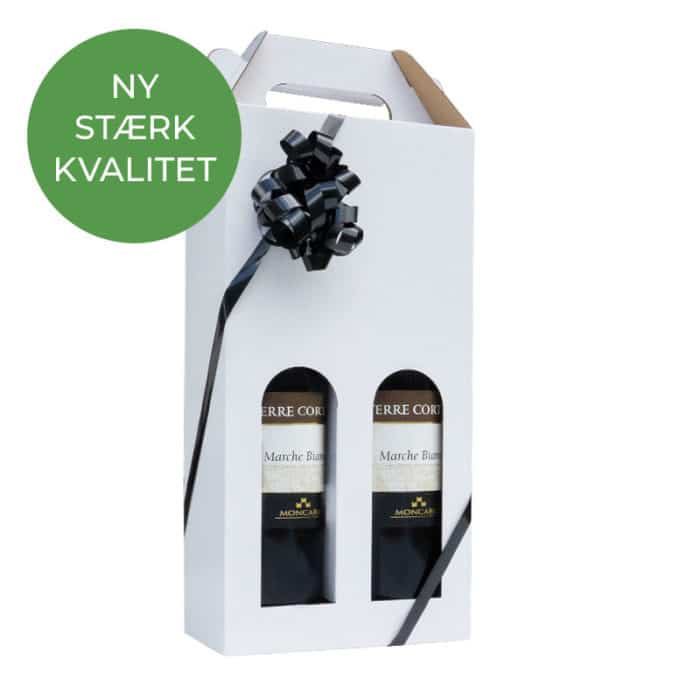 Vinkarton til 2 flasker i hvid a 75 cl.