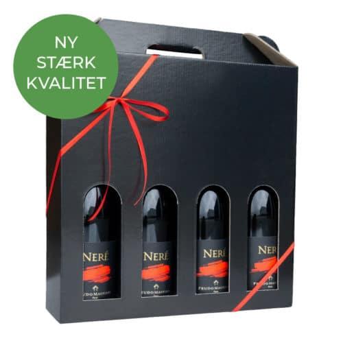 Vinæske i blanksort pap til 4 flasker med rødt gavebånd