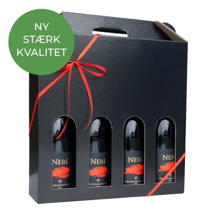Vinæske til 4 flasker i sort