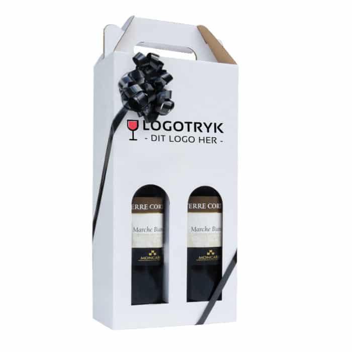 Vinkarton til 2 flasker i hvid a 75 cl. med logo