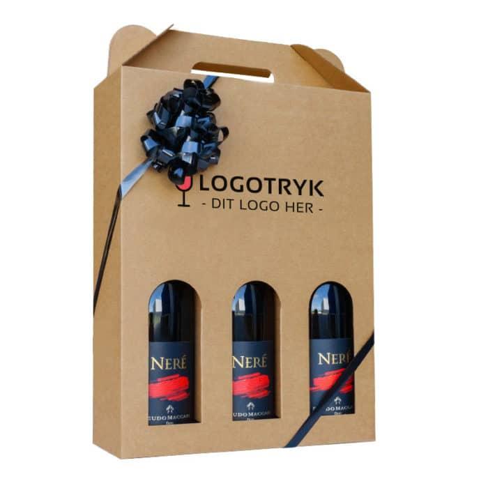 Vinæske til 3 flasker i natur med logo