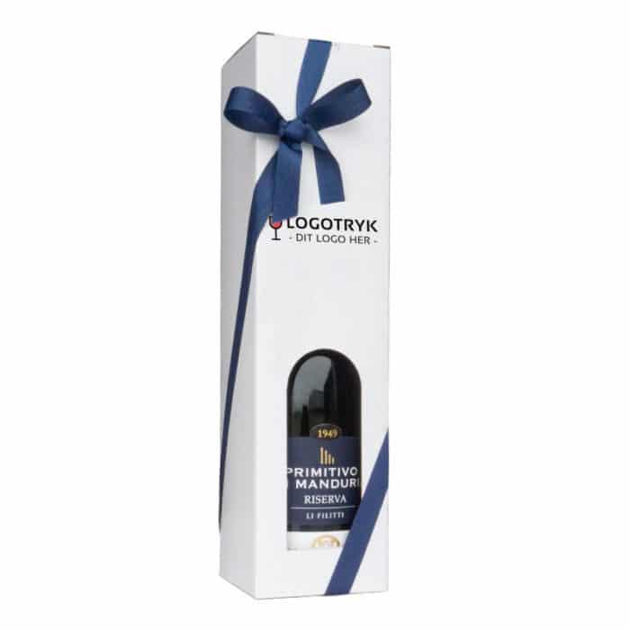 Vinkarton til 1 flaske i hvidt pap 75 cl. med logo og blåt gavebånd