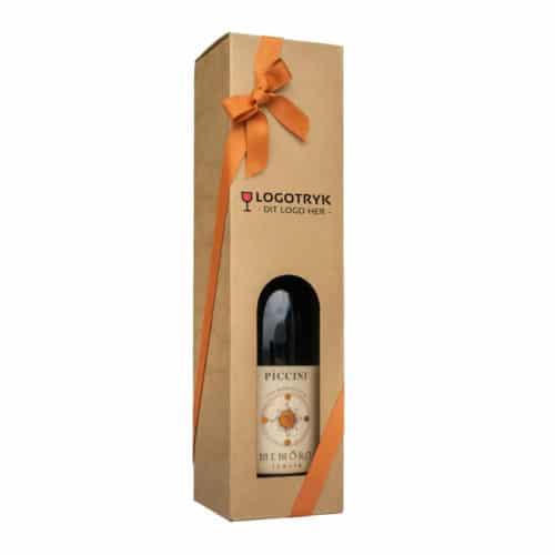 Vinkarton til 1 flaske i natur/brunt pap 75 cl. med logotryk