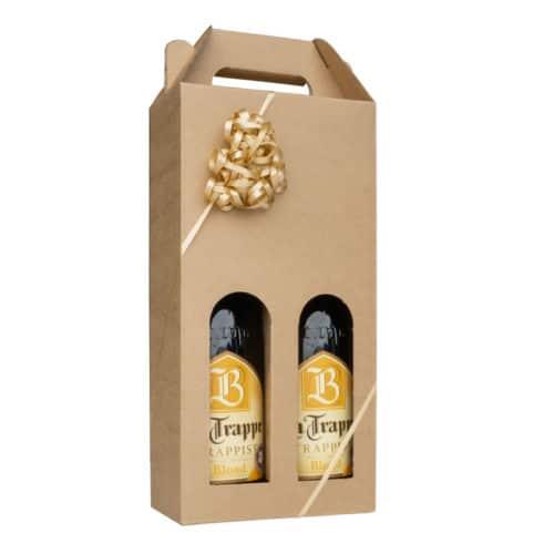 Ølkarton i natur pap til 2 flasker a 75 cl., pakket med øl og guld gavebånd