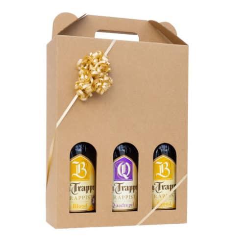 Ølkarton i natur farvet pap til 3 flasker, med guld gavebånd.