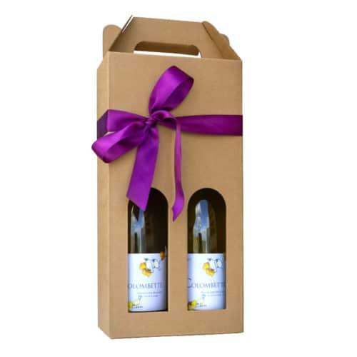 Flot vinkarton i natur pap til 2 flasker a 75 cl. i høj kvalitet