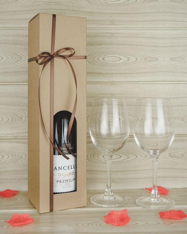 Romantisk gave - Vinkarton til 1 flaske vin