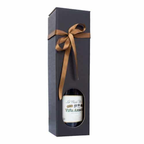 Vinkarton i matsort pap til 1 Magnum flaske, med brunt gavebånd