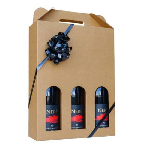 Flot vinkarton i brunt pap til 3 flasker a 75 cl. i høj kvalitet