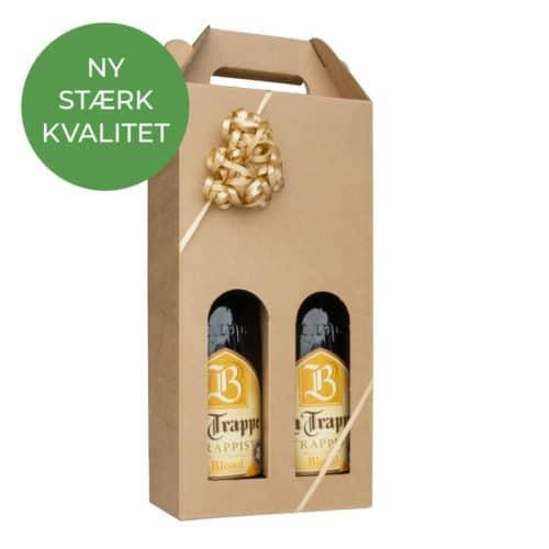 Ølkarton til 2 flasker i natur a 75 cl.