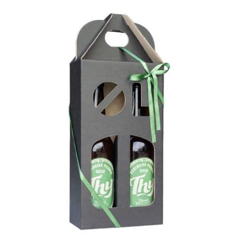 Ølkarton i matsort pap til 2 flasker a 33 cl. med ølstans