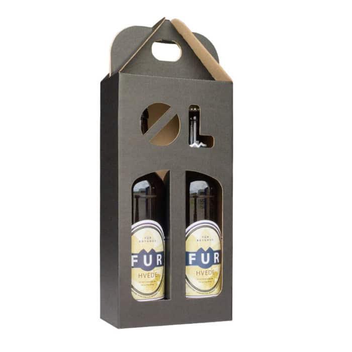 Ølkarton i matsort pap til 2 flasker a 50 cl. med øl-stans