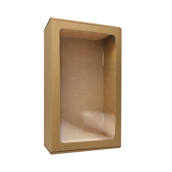Lille gaveæske med rude i natur pap med PP mono folie, som er et 100% genanvendt materiale