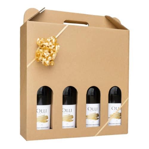 Vinemballage i natur pap til 4 flasker, pakket med vin og gavebånd