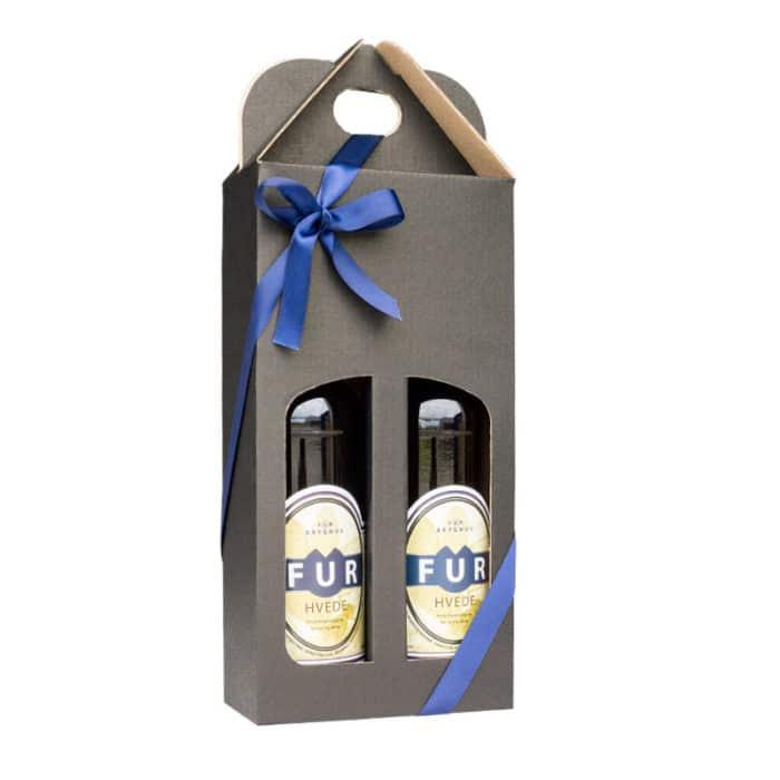 Ølkarton i matsort pap til 2 flasker a 50 cl.