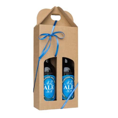 Ølkarton i naturfarvet pap til 2 flasker a 50 cl.