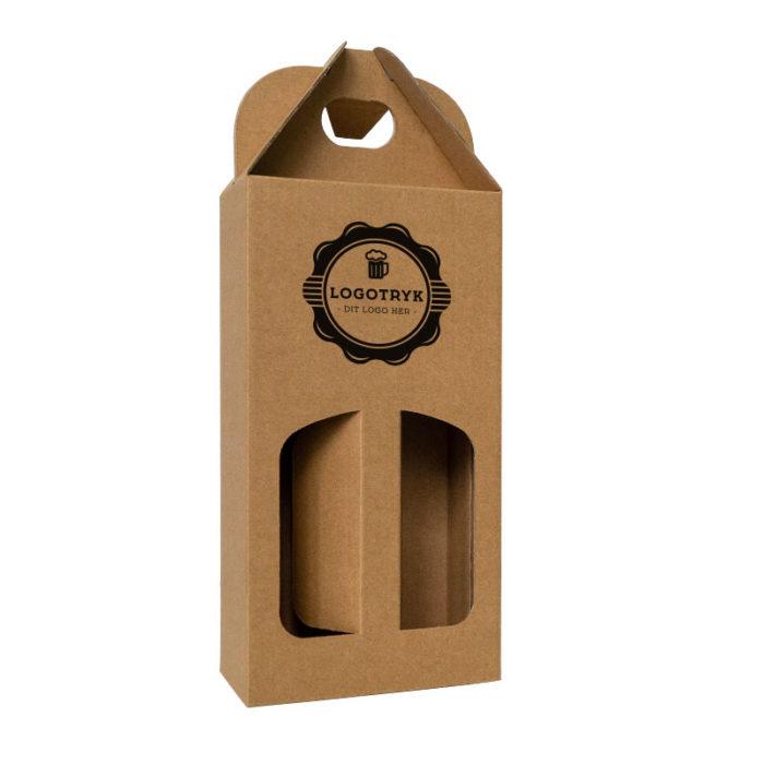 Ølkarton til 2 stk. 33 cl. flasker i natur med logo