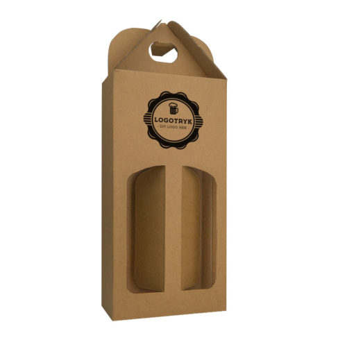 Ølkarton til 2 stk. 50 cl. flasker i natur med logo