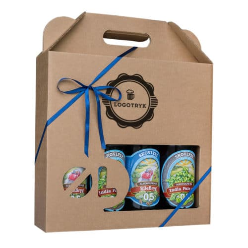 Ølkarton til 4 stk. 50 cl. flasker i natur / brunt pap med logotryk, med blåt gavebånd