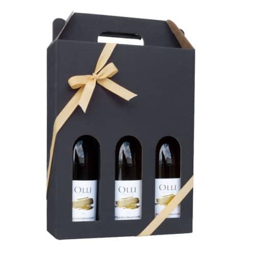 Flot vinkarton til 3 flasker i matsort pap a 75 cl. i høj kvalitet, med guld gavebånd
