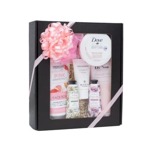 XS gaveæske med rude i matsort, med creme og lyserødt gavebånd