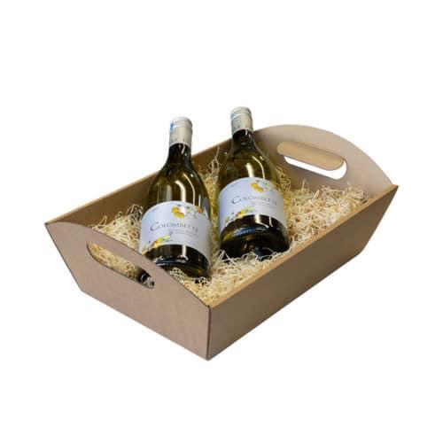 Gavekurv / gavebakke med håndtag i natur / brun pap med træuld og 2 vinflasker