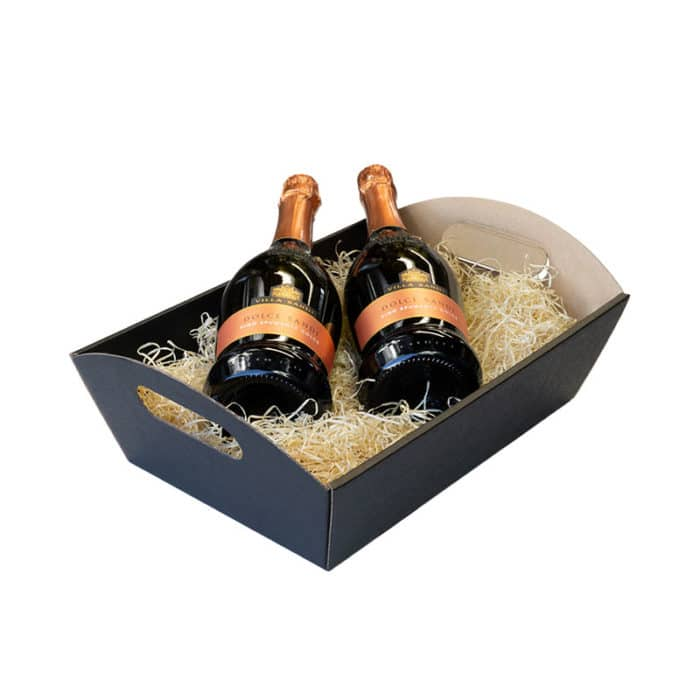 Gavekurv / gavebakke med håndtag i matsort pap med træuld og 2 vinflasker