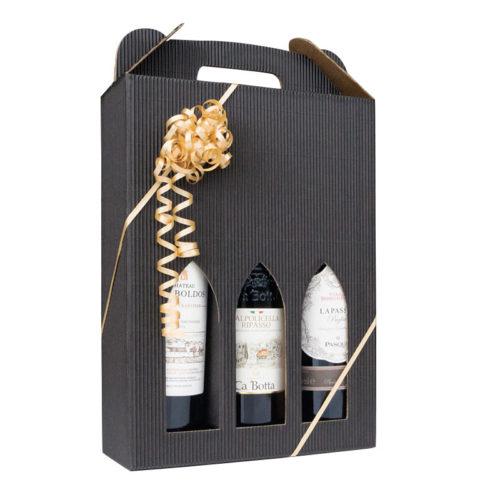 Vinæske i sort åbenbølge til 3 flasker med guldbånd