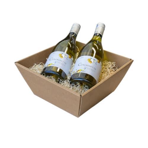 Lille gavekurv / gavebakke i natur / brunt pap med træuld og 2 flasker vin