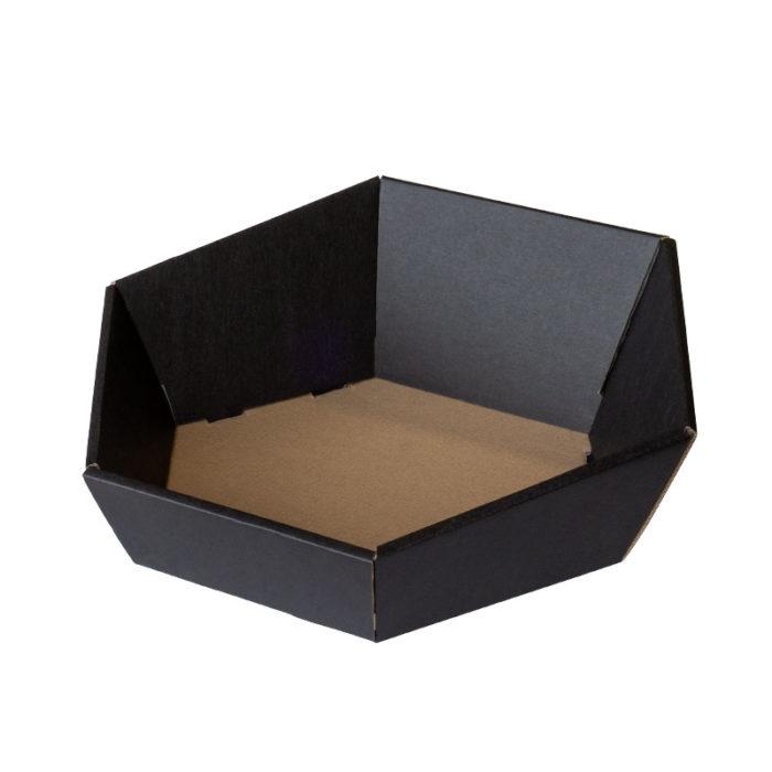 6-kantet / sekskantet gavekurv i matsort pap
