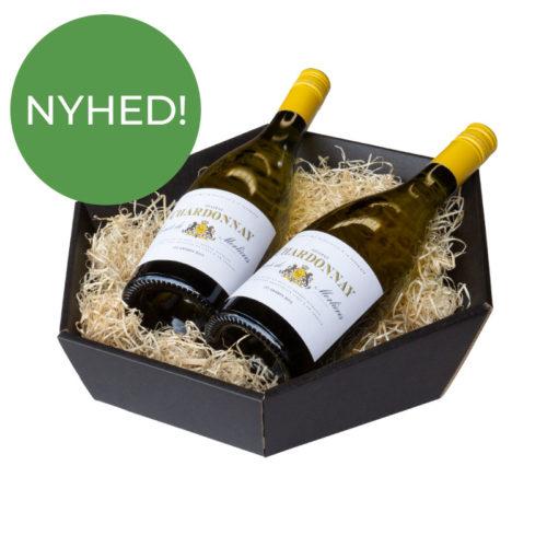 6-kantet / sekskantet gavekurv i matsort pap med træuld og 2 flasker vin - Nyhed