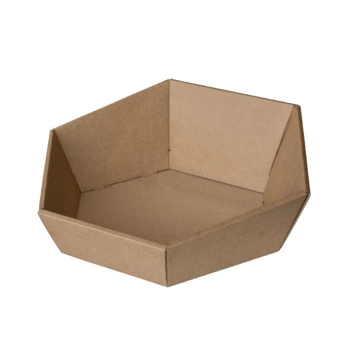 6-kantet / sekskantet gavekurv i natur / brun pap
