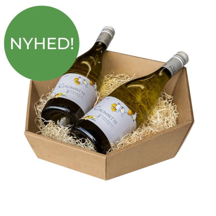 6-kantet / sekskantet gavekurv i natur / brun pap med træuld og 2 flasker vin - Nyhed