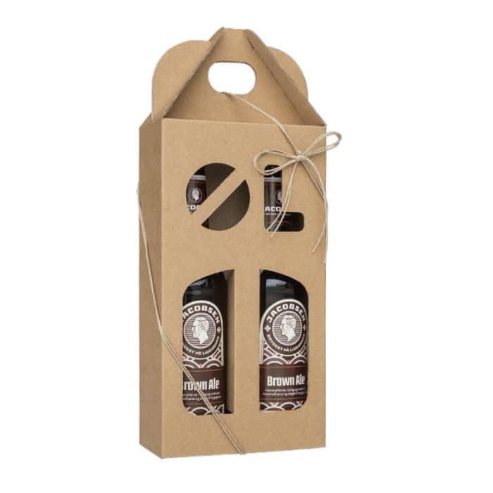 Ølkarton i naturfarvet pap til 2 flasker a 33 cl. med ølstans
