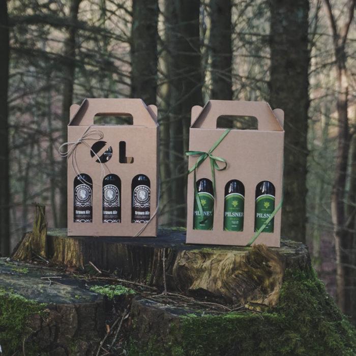 Ølkarton i natur til 3 flasker a 33 cl. i skov