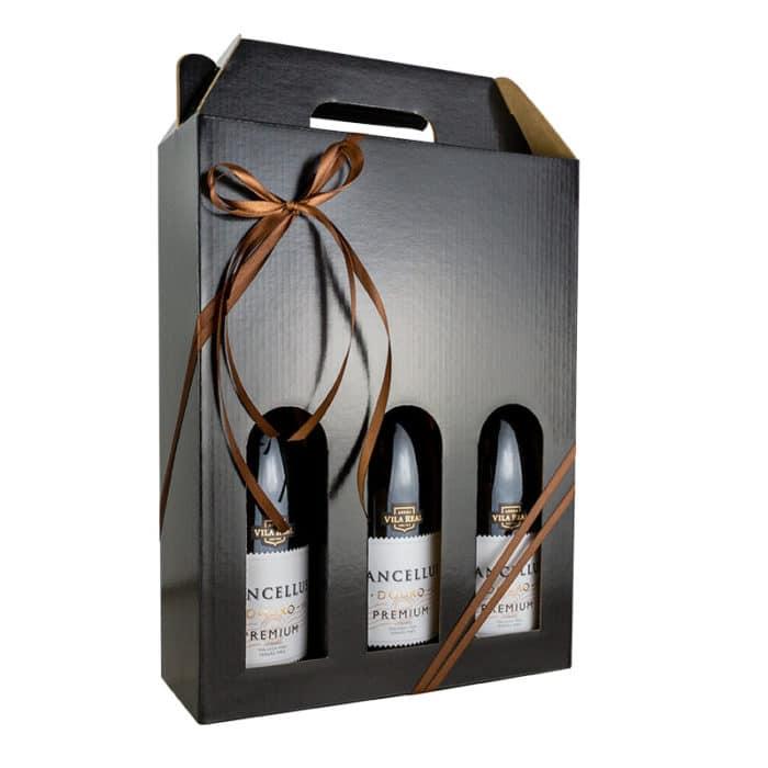 Flot vinkarton i blanksort pap til 3 flasker a 75 cl. i høj kvalitet