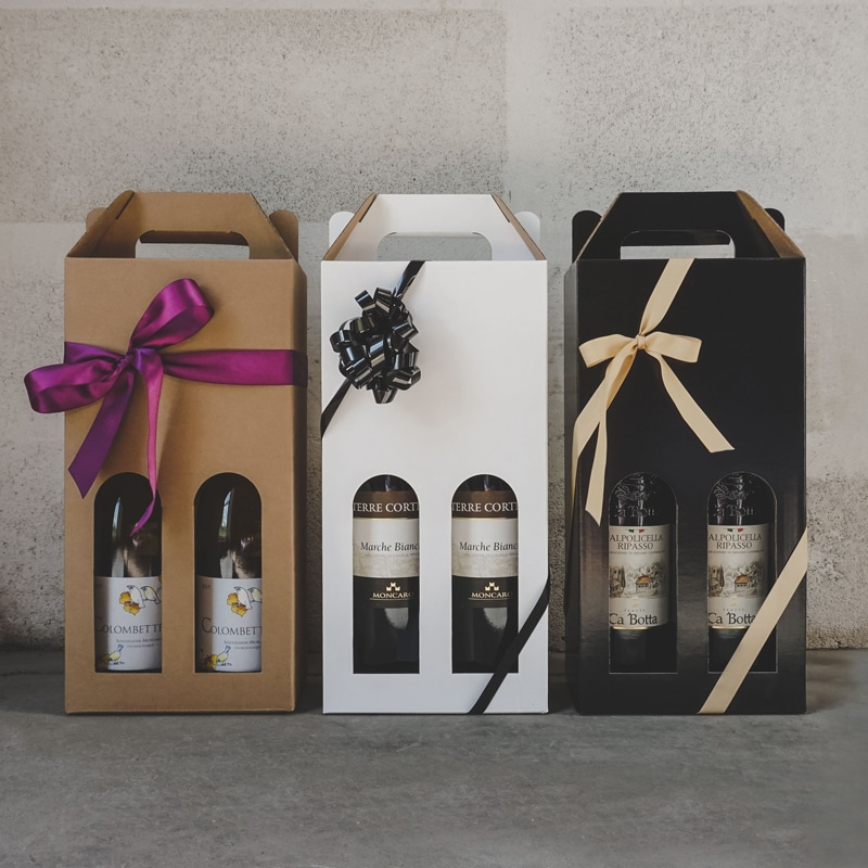 Vinkartoner til blanksort, natur og hvid til 2 flasker