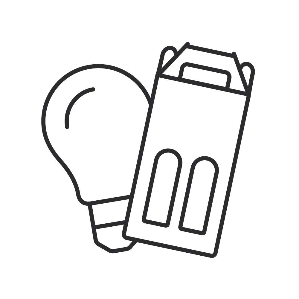 Ikon med vinkarton og lyspærer. Del din emballage idé med os.