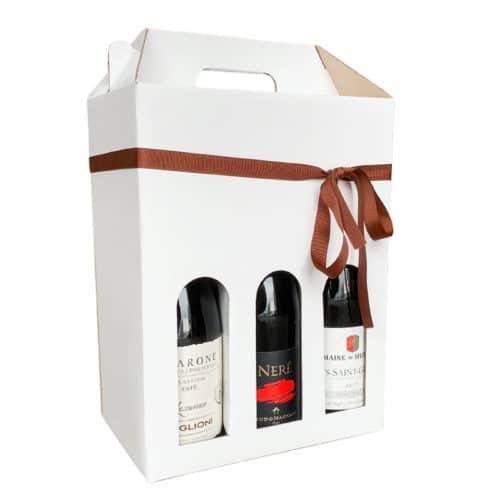 Kvalitets vinkarton i hvid til 6 flasker a 75 cl.