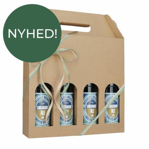 Ølkarton i natur til 4 flasker a 50 cl. - Nyhed